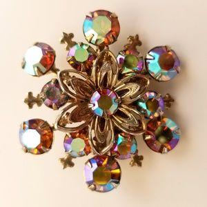 Vintage Aurora Borealis Filigree Flower Brooch